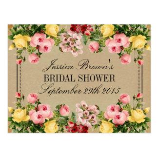 Elegant Vintage Floral Bridal Shower Recipe Cards