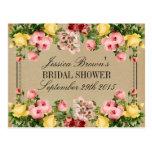 Elegant Vintage Floral Bridal Shower Recipe Cards Postcard