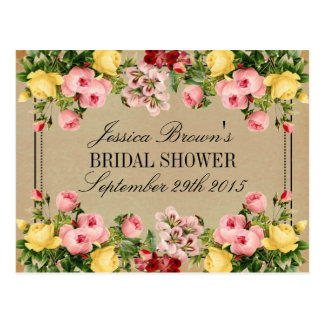 Elegant Vintage Floral Bridal Shower Recipe Cards Postcard
