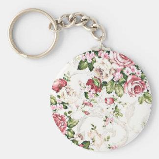 Elegant Vintage Floral Cottage Cream Rose Keychain