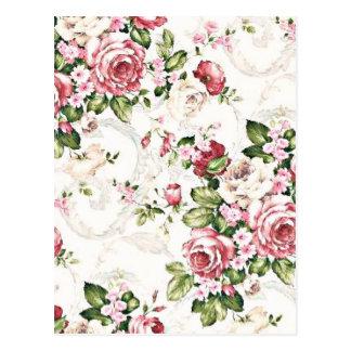 Elegant Vintage Floral Cottage Cream Rose Post Cards