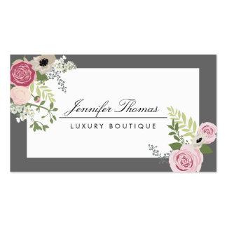 Elegant Vintage Floral Design White/Gray Business Card