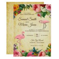 Elegant Vintage Floral Flamingo Wedding Invitation