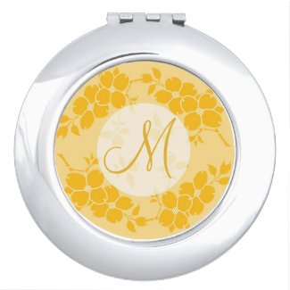 Elegant Vintage Floral Frame Yellow Monogram Makeup Mirror