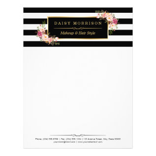Elegant Vintage Floral Gold Black White Stripes Letterhead at Zazzle