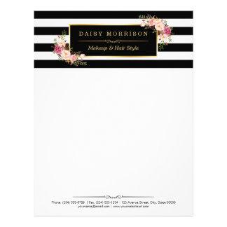 Elegant Vintage Floral Gold Black White Stripes Letterhead