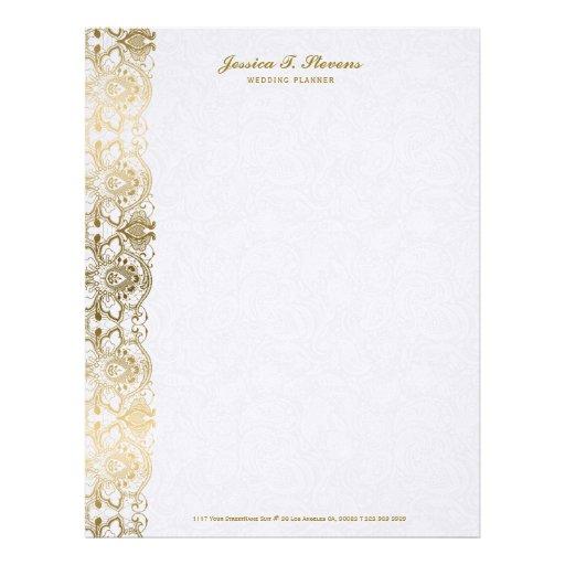 Elegant vintage floral lace gold tones on white letterhead