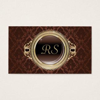 Elegant Vintage Floral Monogram Gold and Brown Business Card