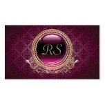 Elegant Vintage Floral Monogram Gold and Purple Business Card Templates