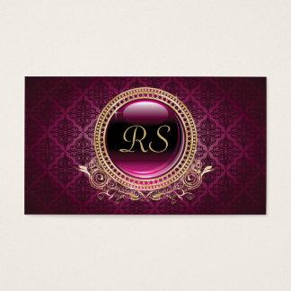 Elegant Vintage Floral Monogram Gold and Purple Business Card