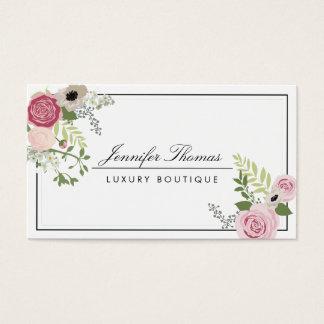 Elegant Vintage Floral Motif Luxury Boutique Business Card