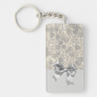 Elegant Vintage Floral Pattern-Gray Bow Keychain