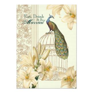 elegant Vintage floral peacock rehearsal dinner Card