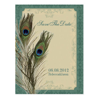 elegant vintage floral peacock Save the date Postcard