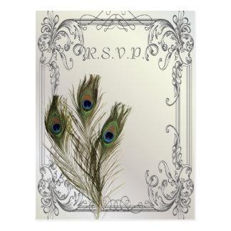 elegant vintage floral peacock wedding RSVP Postcard
