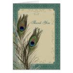 elegant vintage floral peacock wedding thank You Cards