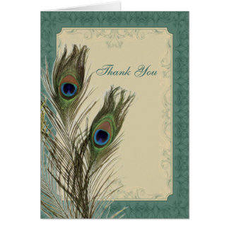 elegant vintage floral peacock wedding thank You Card