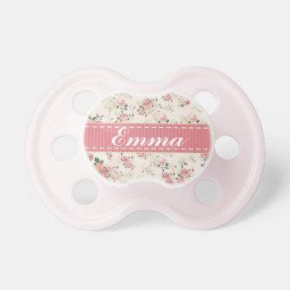 Elegant VIntage Floral Rose Baby Name Pacifier