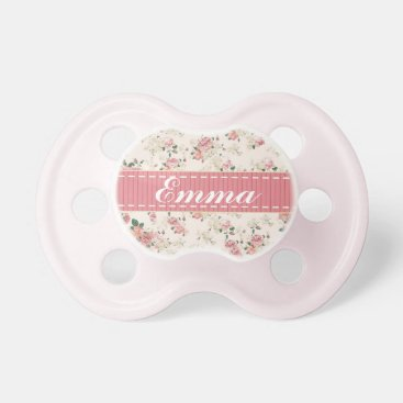 Toddler & Baby themed Elegant VIntage Floral Rose Baby Name Pacifier