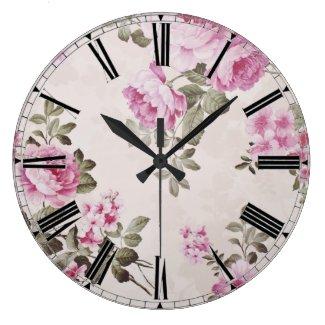 Elegant Vintage Floral Rose Clock