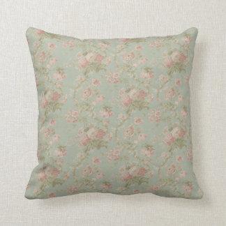 Elegant Vintage Floral Rose, Green & Pink Throw Pillow