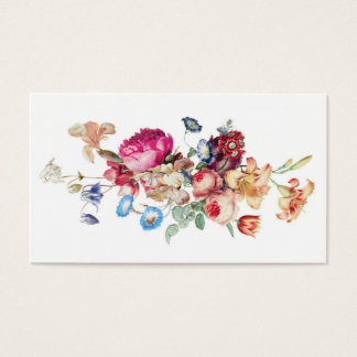 Elegant Vintage Floral Rose Pattern Template Business Card