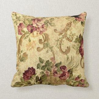 Elegant Vintage Floral Rose Victorian Brocade Throw Pillow