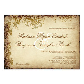 Elegant Vintage Floral Rustic Wedding Invitations