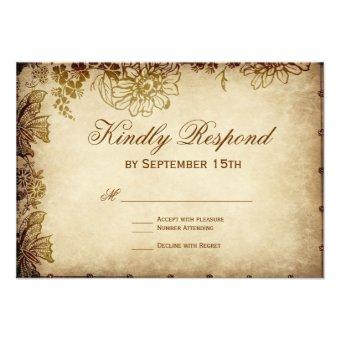 Elegant Vintage Floral Rustic Wedding RSVP Cards
