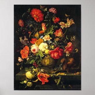 Elegant Vintage Floral Still LIfe; Abraham Mignon Poster
