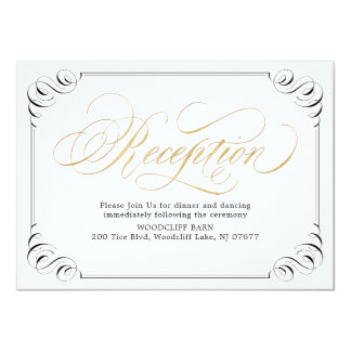Elegant vintage flourish calligraphy reception card