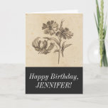 [ Thumbnail: Elegant Vintage Flower Illustration Happy Birthday Card ]