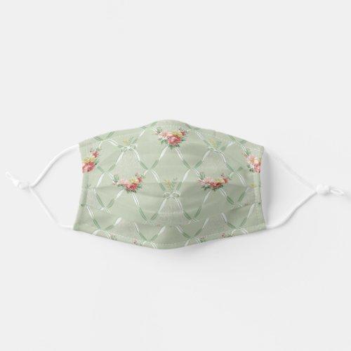 Elegant Vintage Flowers and Ribbon Trellis Cloth Face Mask