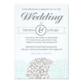 Elegant Vintage Flowers Aqua Wedding Invitation