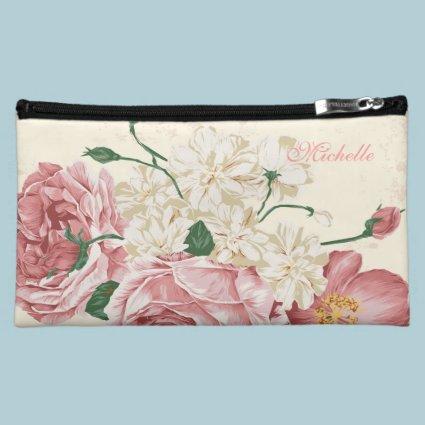Elegant Vintage Flowers Cosmetics Bags