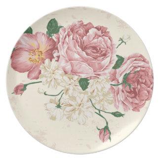 Elegant Vintage Flowers Plates