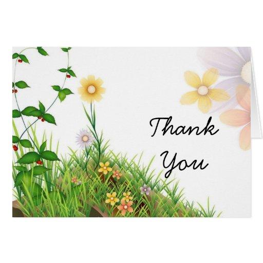 Elegant Vintage flowers thank you Greeting Card