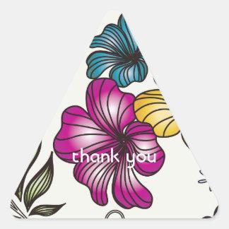 Elegant Vintage Flowers Triangle Sticker