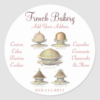 Elegant Vintage French Bakery - Pastry, Cake Shop Round Sticker
