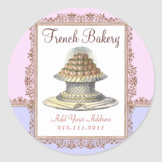 Elegant Vintage French Bakery - Pink, Purple Classic Round Sticker