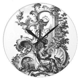 Elegant Vintage French Black and White Toile Clocks