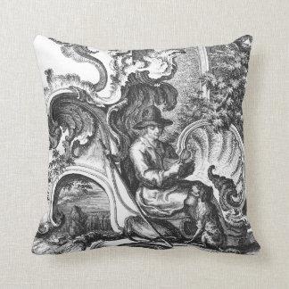 Elegant Vintage French Black and White Toile Throw Pillows