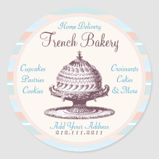 Elegant Vintage French Pastries: Bakery, Cake Shop Classic Round Sticker