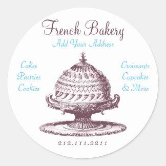 Elegant Vintage French Pastries: Bakery, Cake Shop Round Stickers