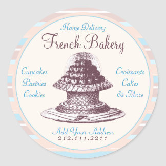 Elegant Vintage French Pastries: Bakery Peach Stri Classic Round Sticker