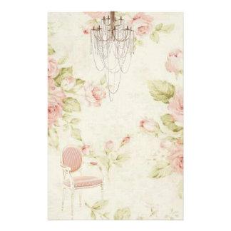 Elegant Vintage  French Pink Floral Chandelier Stationery