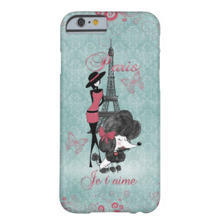 Elegant vintage French poodle girls silhouette Barely There iPhone 6 Case