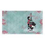 Elegant vintage French poodle girls silhouette Business Card