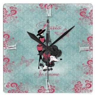 Elegant vintage French poodle girls silhouette Square Wallclocks