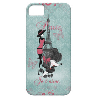 Elegant vintage French poodle girls silhouette iPhone SE/5/5s Case